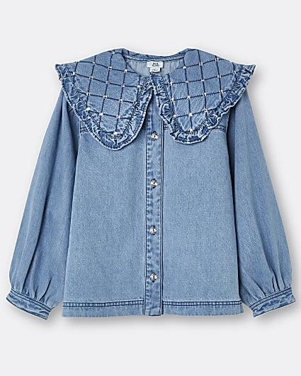 Girls blue quilted diamante denim shirt