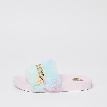Girls blue rainbow faux fur sliders