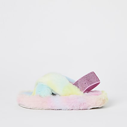 Girls blue rainbow faux fur slippers