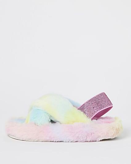 Girls blue rainbow faux fur slippers