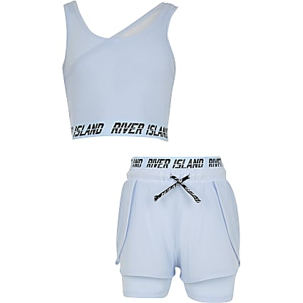 Girls blue RI Active asymmetric layer set
