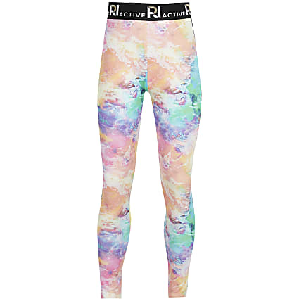 Girls blue RI Active tie dye leggings