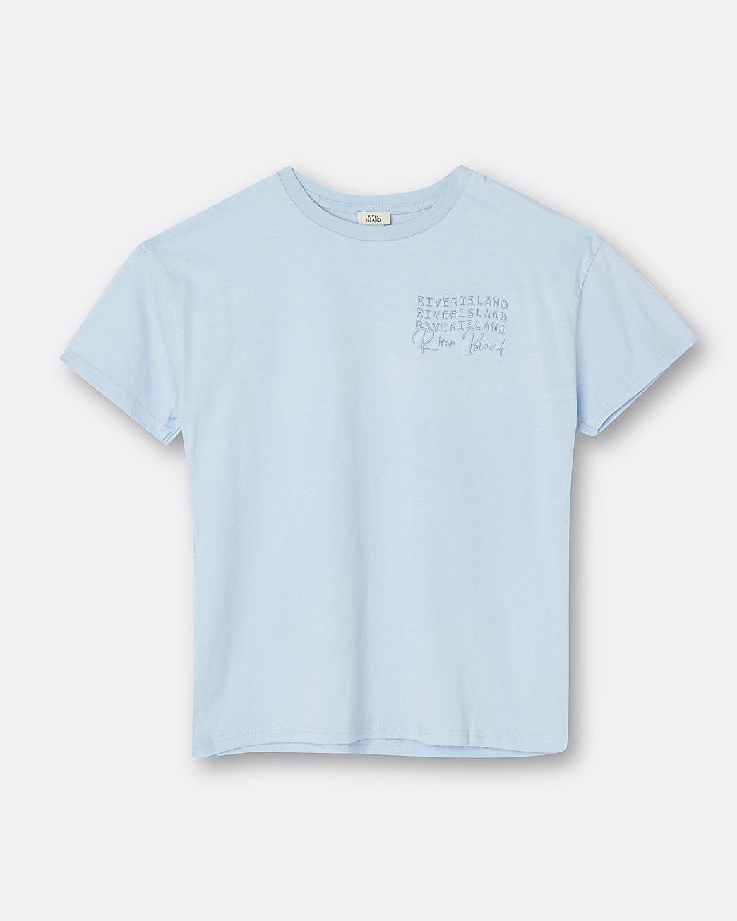 Girls blue RI embroidered t-shirt
