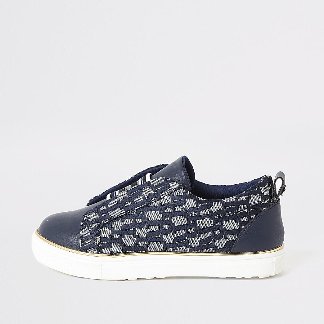 Girls blue RI jacquard elasticated trainers