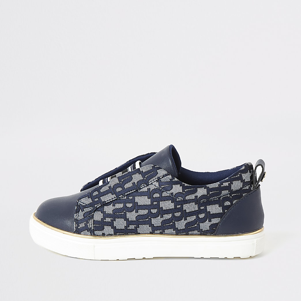 Blauwe elastische jacquard RI sneakers voor meisjes