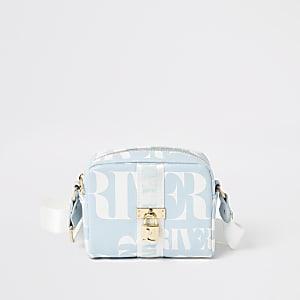 Girls blue RI lock front cross body bag