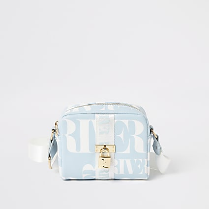 Girls blue RI lock front cross body bag