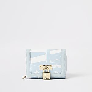 Blauwe uitvouwbare portemonnee met RI-slotje aan voorzijde voor meisjes