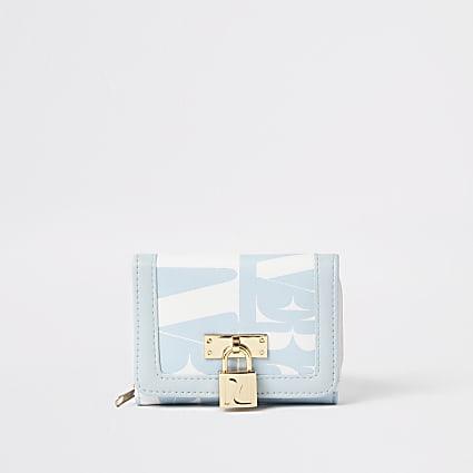 Girls blue RI lock front fold out purse
