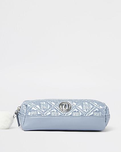 Girls blue RI metallic nylon pencil case