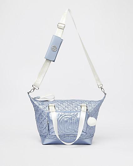 Girls blue RI metallic nylon shopper bag