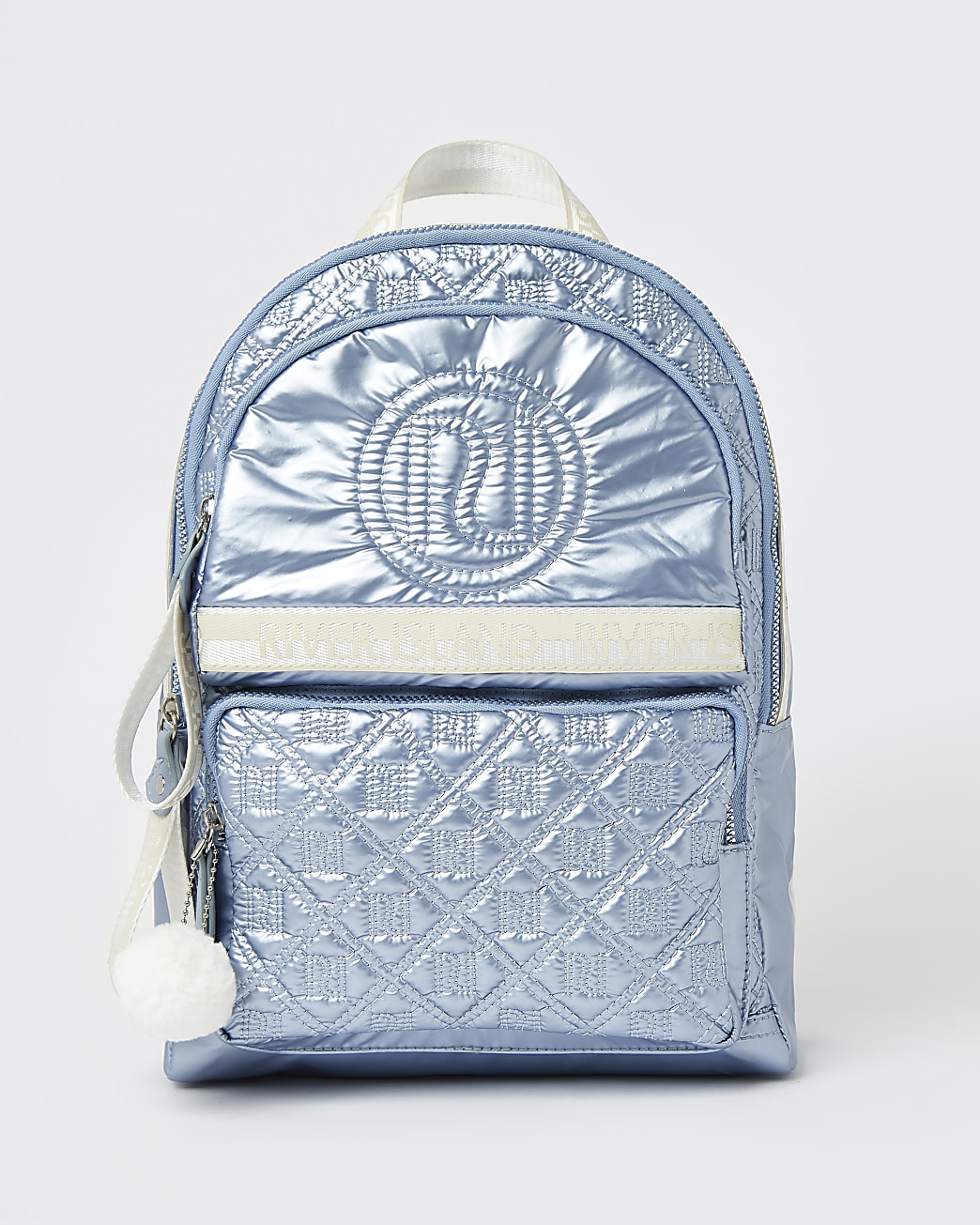 Girls blue RI metallic quilted backpack