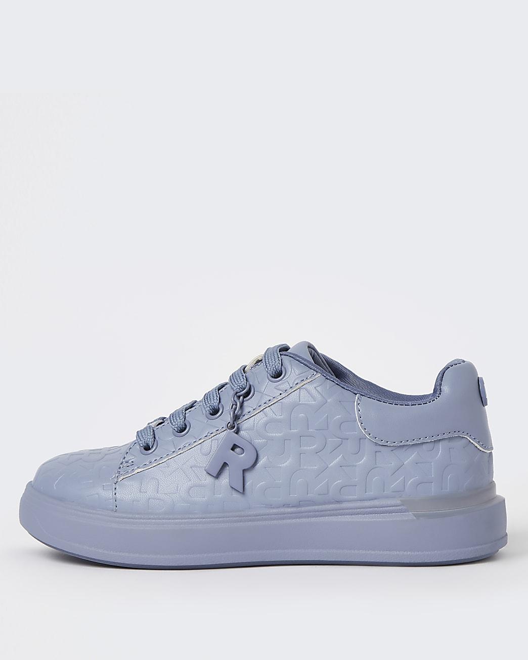 Girls blue RI monogram lace up trainers