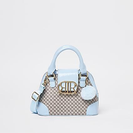 Girls blue RI monogram mini tote bag