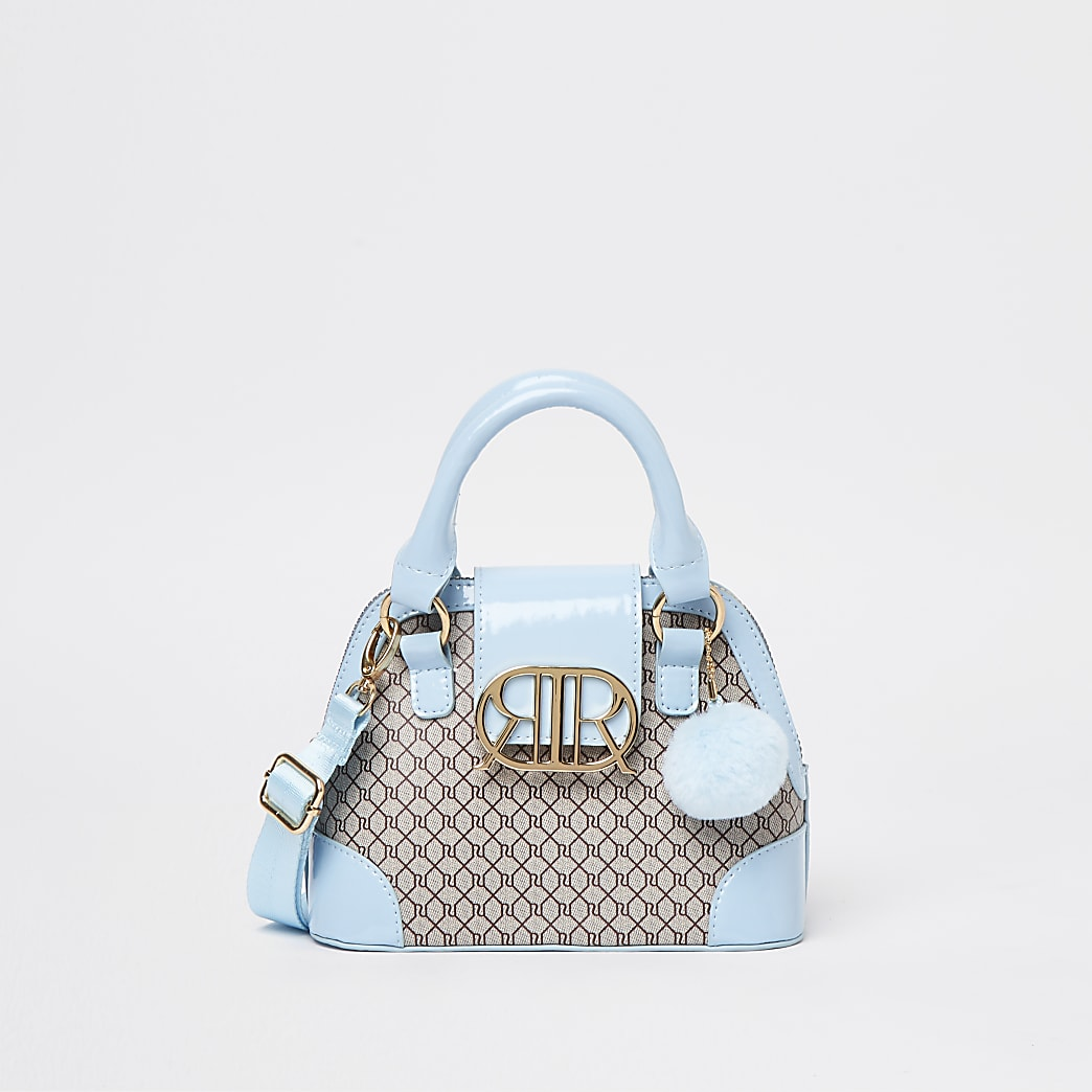 Girls blue RI monogram mini tote bag