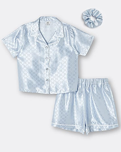 Girls blue RI monogram satin pyjama set