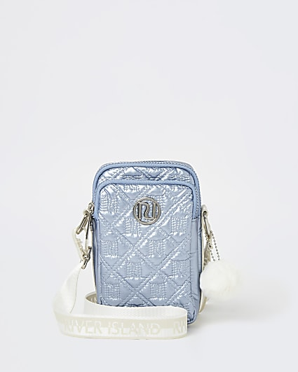 Girls blue RI nylon metallic cross body bag