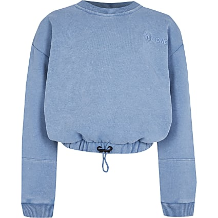 Girls blue RI One cinched sweatshirt