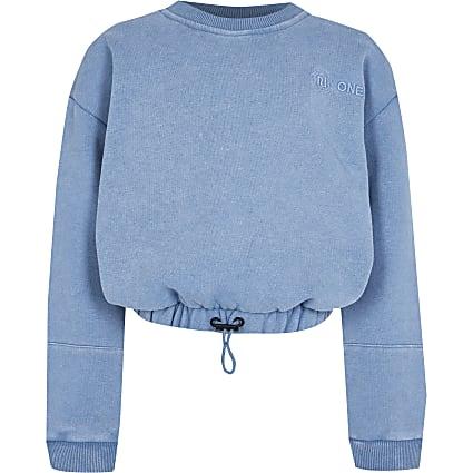 Girls blue RI One cinched sweatshirt