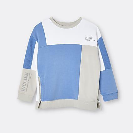Girls blue RI ONE colour block sweatshirt