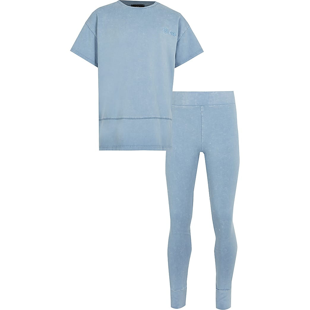 Girls blue RI One t-shirt outfit