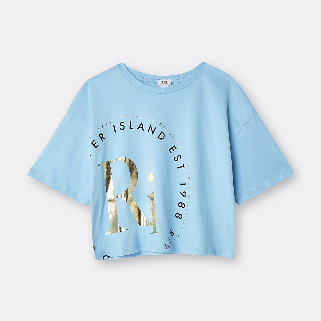 Girls blue RI print t-shirt