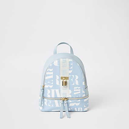 Girls blue RI printed lock front backpack