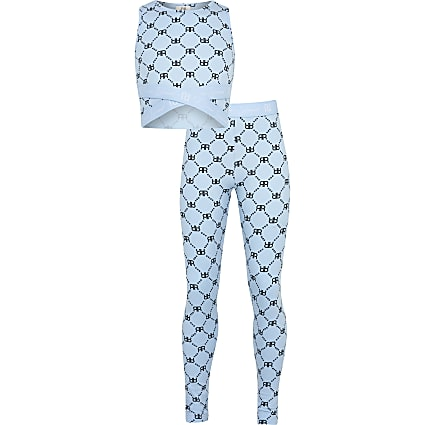 Girls blue RI top and leggings outfit
