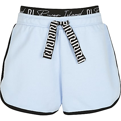 Girls blue RI waistband runner shorts