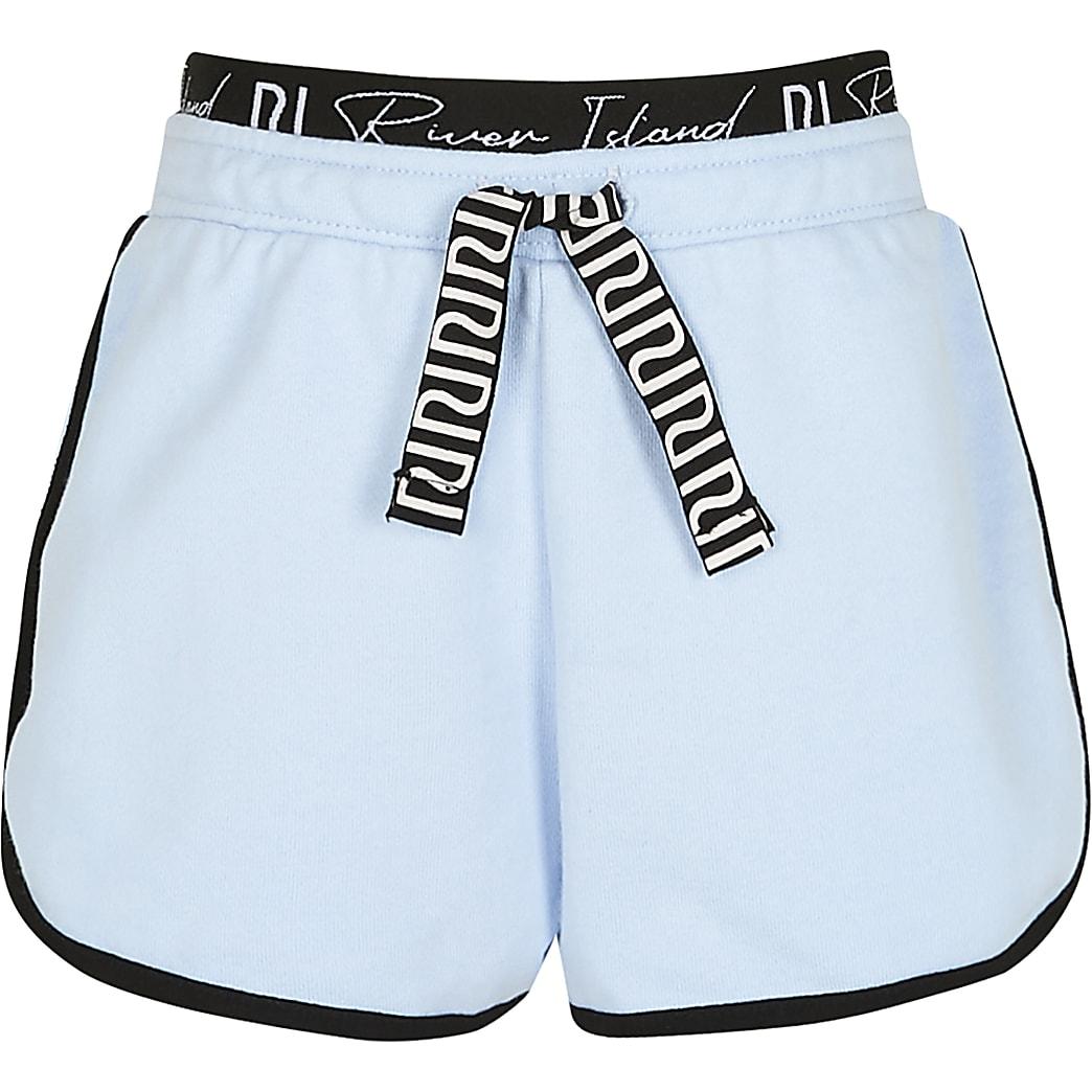 Girls blue RI waistband runner shorts