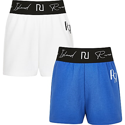 Girls blue RI waistband shorts 2 pack