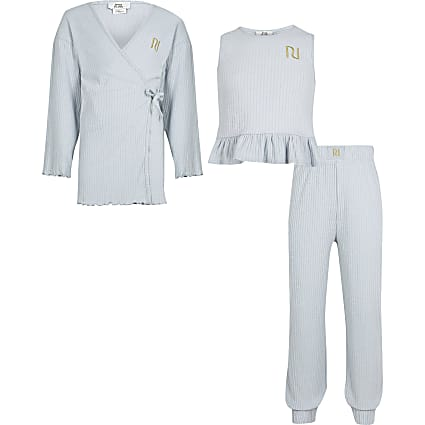 Girls blue ribbed loungewear 3 piece set
