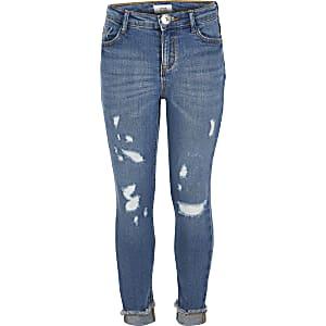 Amelie – Blaue Mid-Rise Skinny Jeans im Used-Look