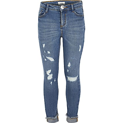 Girls blue rip Amelie mid rise skinny jeans