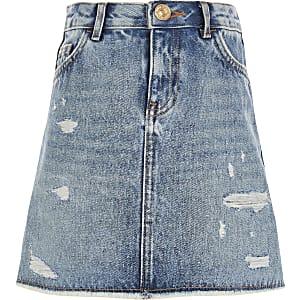 Blauwe ripped A-lijn denim rok voor meisjes