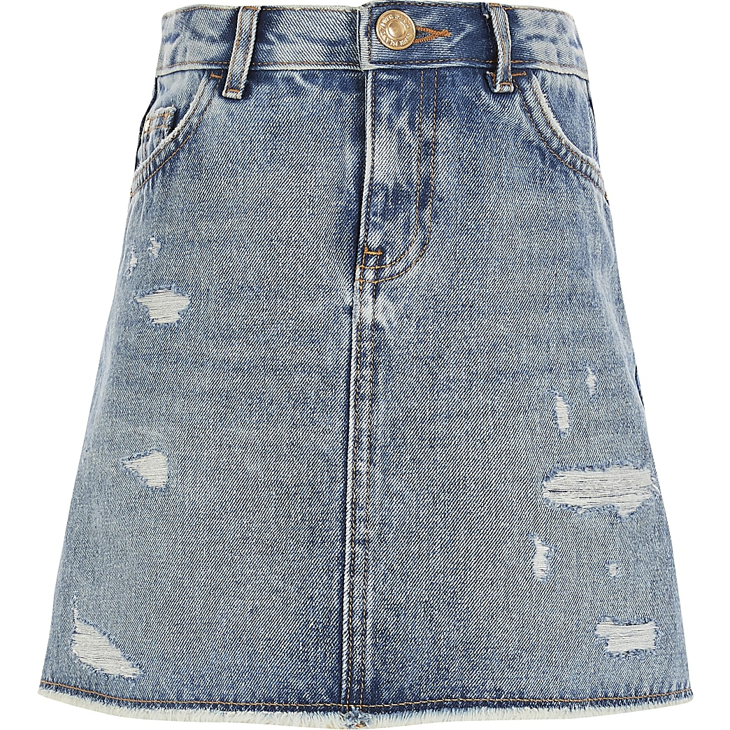 Girls blue ripped A line denim skirt