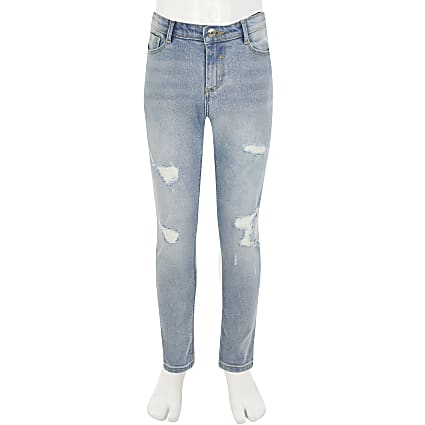 Girls blue ripped Amelia skinny jeans