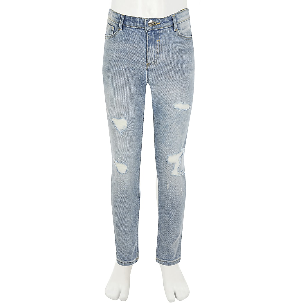 Amelia - Blauwe ripped skinny jeans voor meisjes