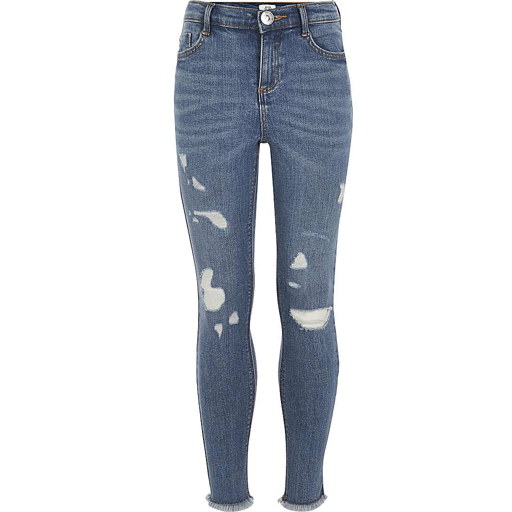 Girls blue ripped Amelie skinny jeans