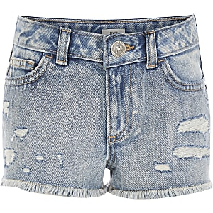 Girls blue ripped boyfriend fit denim shorts