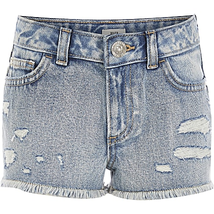 Girls blue ripped boyfriend fit denim shorts
