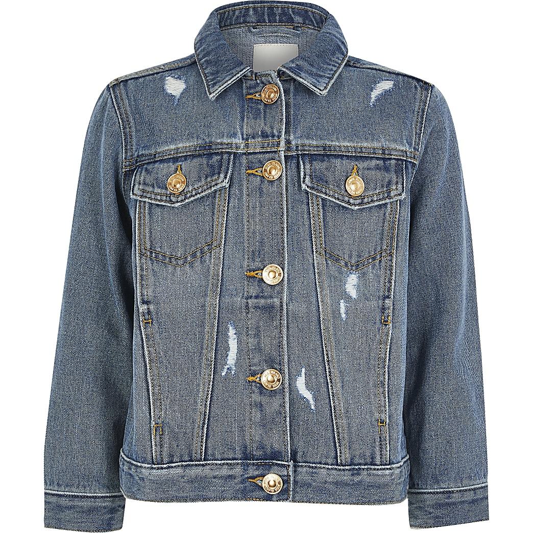 Girls blue ripped denim jacket