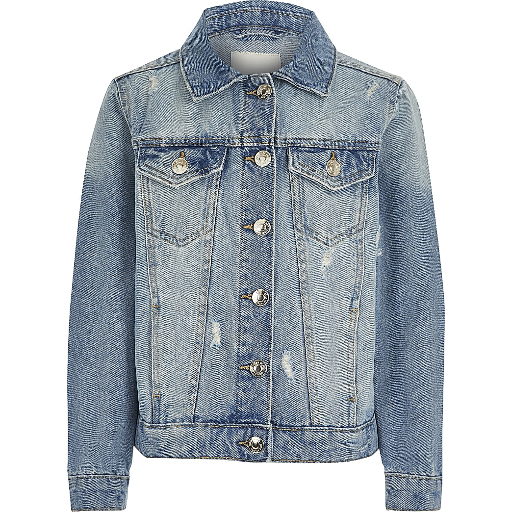 Girls blue ripped denim jacket
