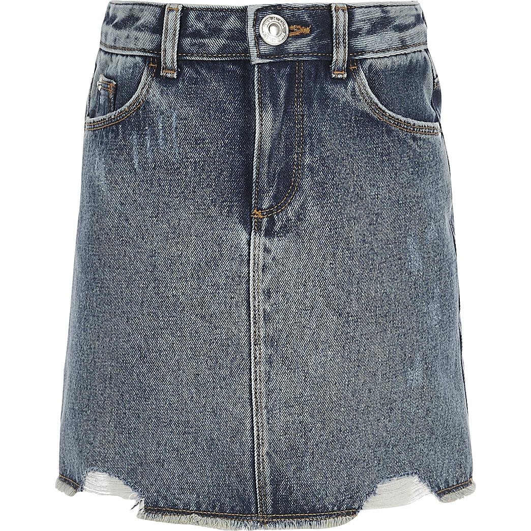 Girls blue ripped denim skirt