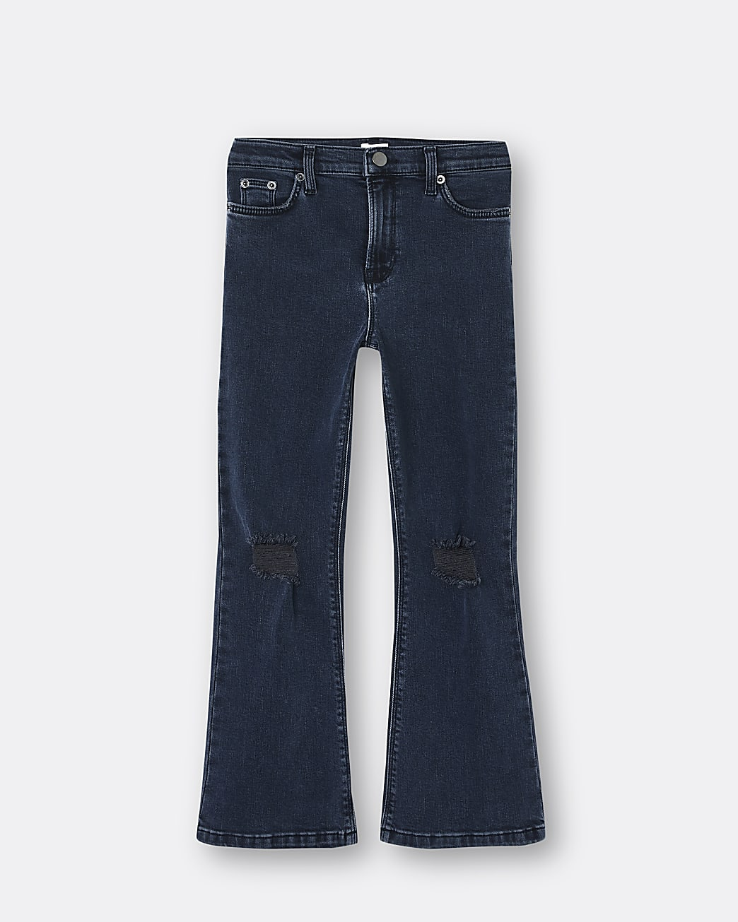 Girls blue ripped flare jeans