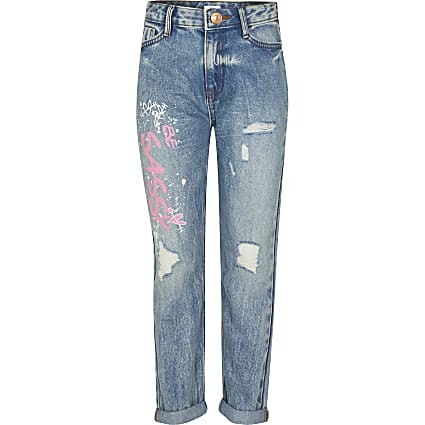 Girls blue ripped graffiti mom jeans