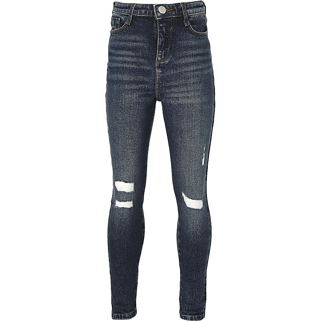 Girls blue ripped high rise jeans
