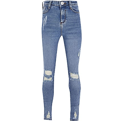 Girls blue ripped high rise skinny jean