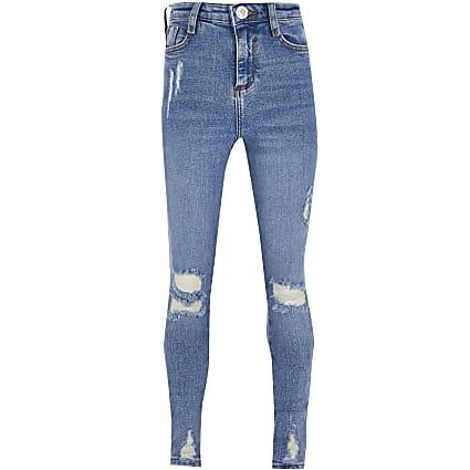 Girls blue ripped high rise skinny jean