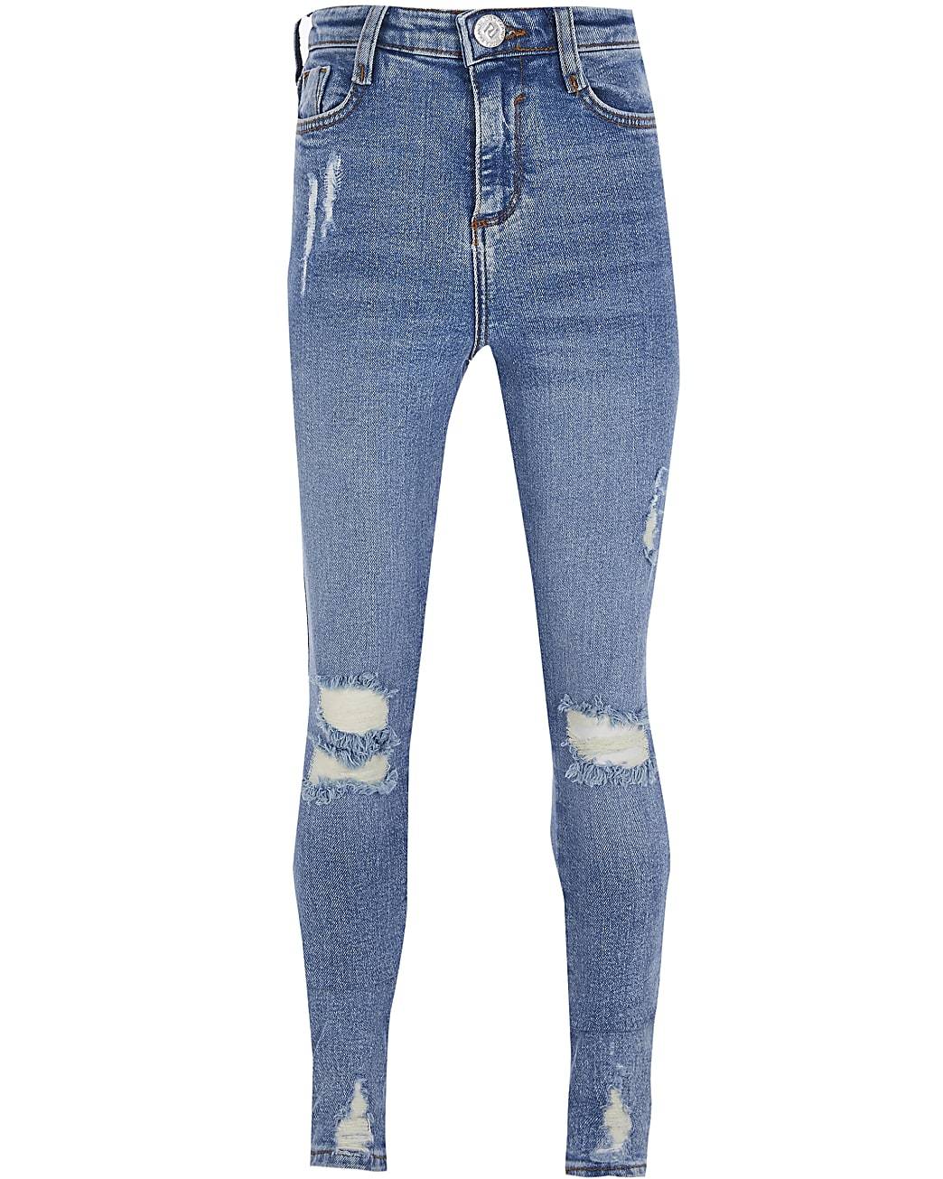 Girls blue ripped high rise skinny jeans